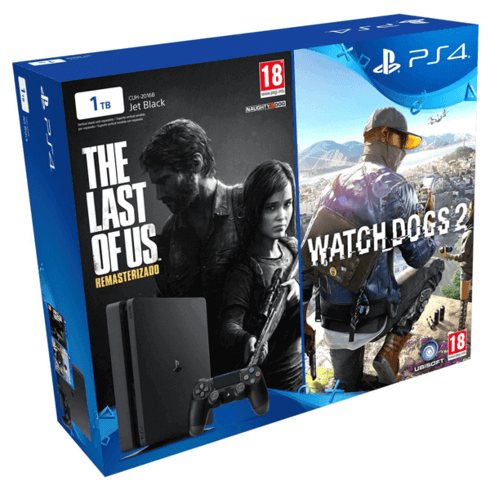 PS4 Slim 1TB + The Last of Us + Watch Dogs 2
