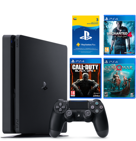 PlayStation 4 500GB SLIM + 3 GAMES & 90 DAYS PSN UAE