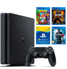 PLAYSTATION 4 500GB SLIM + 3 GAMES & 3 Months KSA Subscription