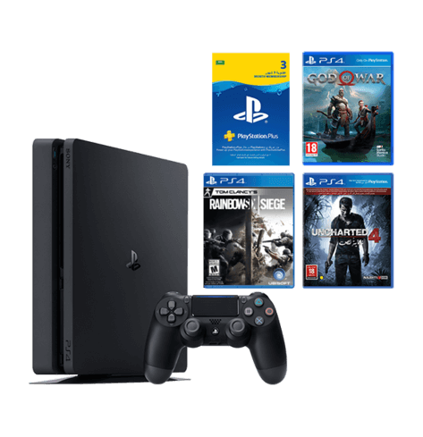 PS4 SLIM 500GB BUNDLE (GOD OF WAR, UNCHARTED 4, RAINBOW SIX SIEGE)