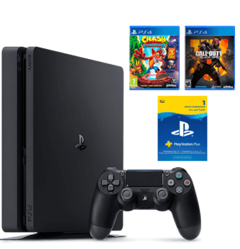 PS4 Slim 1TB + Call Of Duty Black Ops 4 + Crash Bandicoot + 1 Month PS Plus